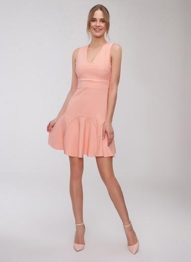 People By Fabrika Şerit Detaylı Mini Elbise Somon